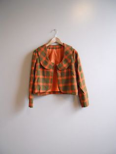 1960s/60s Orange Plaid Jacket with Peter Pan Collar. $29.00, via Etsy.