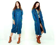 Laura Biagiotti Denim Coat / Designer Clothing / Maxi Denim Coat / Long Denim Jacket / Oversize Jacket / Baggy Coat / Duster / Size M