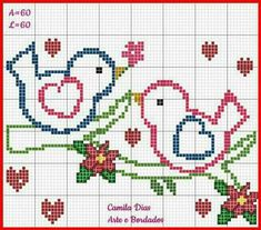 Simple Cross-stitch pattern of: Two Little Love Birds Sitting in a tree.G This would be a cute wedding gift! Cross Stitch Heart, Cross Stitch Cards, Simple Cross Stitch, Cross Stitch Animals, Cross Stitching, Cross Stitch Embroidery, Embroidery Patterns, Wedding Cross Stitch Patterns, Cross Stitch Designs