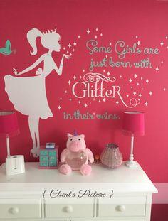 Ballerina Wall Decal Glitter Wall decal Nursery by PolkaDotWalls