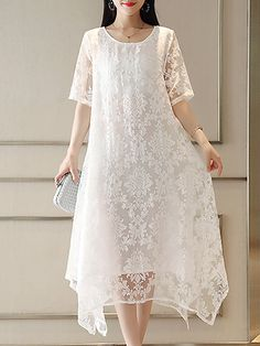 Buy Midi Dress For Women from A-THENA at Stylewe. Simple Dresses, Cheap Dresses, Casual Dresses, Fashion Dresses, Short Sleeve Dresses, Midi Dresses, White Midi Dress, Lace Dress, Buy Dress
