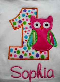 Love the dots on the number minus the owl...Custom Boutique Applique Owl Birthday Shirt by CaneyBoutique, $21.00 Custom Made Shirts, 3 Kids, 3rd Birthday Parties, Madagascar, Birthday Shirts, Applique, Owl, Kids Rugs, Number