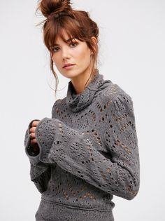 Sheila Márquez || FP Shoot From The Heart Cut-Out Turtleneck Sweater (Gunmetal)