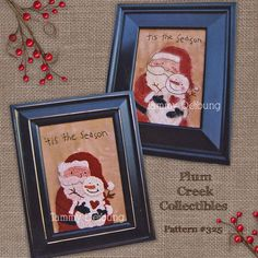 Punch Needle Pattern Santa & Snowman by PlumCreekPatterns on Etsy