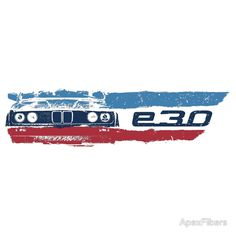 Grungy BMW E30 a front end with E30 badge in M colors