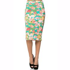 Teal Floral Midi Pencil Skirt -   -  Sophie May Clothing  - 1