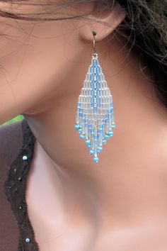 Silver Sparkle With The Blues - Seed Bead Earrings - Bugle Bead Earrings - Blue and Silver Earrings