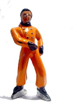 Barclay Boy (B176) Figure Skater in orange by MooncatAntiques on Etsy