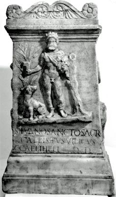 """""""Marble altar dedicated to the god Silvanus, who is portrayed on the front holding fruit and a pruning-knife, with a dog at his side; Latin inscription: Callistus, bailiff of Gaius Caelus Helus, gave the sacred gift to the venerable Silvanus."""" - British Museum.Rome, ca. 2nd century CE."""