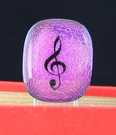 Purple and Black Musical Note inspired Bookmark fused glass paper clip style by addicted2glassfusion
