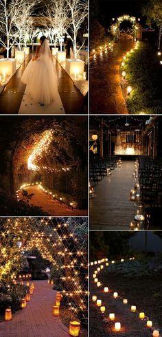 romantic lighting wedding aisle runner decoration