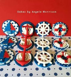 Nautical cupcake toppers by Angela Morrison of Cakes by Angela Morrison in the Sail Away Showcase Fondant Toppers, Cupcake Toppers, Cupcake Cakes, Cup Cakes, Themed Cupcakes, Cute Cupcakes, Cupcakes Design, Nautical Cupcake, Nautical Baby