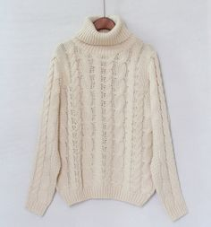 Solid Color Turtleneck Long Sleeves Acrylic Casual Style Cable-Knit Sweater For Women (APRICOT,ONE SIZE)   Sammydress.com