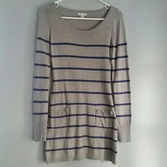 Sweater dress Navy striped gray sweater dress. 2 front pockets. Medium but can also fit a small. Dresses Long Sleeve