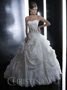 Christina Wu Style 15516 This strapless wedding dress features a sweetheart neckline with crystal embellishment, full skirt with ruffles and semi catherdral train. Lace-up back. Wedding Dresses Size 14, Beautiful Wedding Gowns, Wedding Dress Styles, Bridal Dresses, Bridesmaid Dresses, Dream Wedding, Wedding Lace, Bling Wedding, Gown Wedding