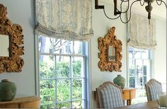Relaxed roman shades outside mount