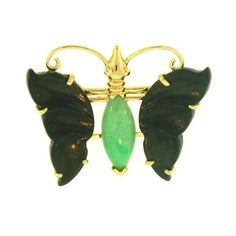 Natural Black Jade Butterfly Pin Set 14K Yellow Gold w/ Green Jadeite... ($860) ❤ liked on Polyvore featuring jewelry, brooches, green jewelry, green brooch, 14k gold brooch, gold jewelry and butterfly jewelry