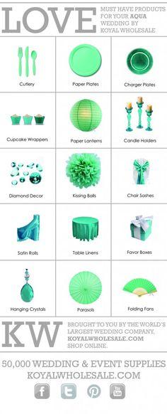 Event supply website---just in case u need it Aqua Wedding Colors, Summer Wedding Colors, Blue Wedding, Trendy Wedding, Dream Wedding, Wedding Day, Wedding Stuff, Wedding Bells, Diy Wedding
