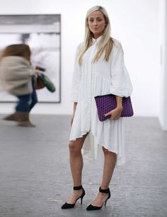 Frieze London 2013 street style  ELLE UK   ELLE UK   Asos dress, Pierre Hardy clutch, Zara shoes