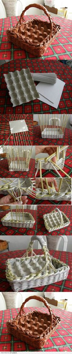 Cut egg carton piece to fit any basket already on hand. DIY Woven Paper Easter Egg Basket and Tray Too. For gathering daily eggs or Easter. Easter Crafts, Fun Crafts, Diy And Crafts, Easter Gift, Creative Crafts, Recycle Crafts, Easter Egg Basket, Easter Eggs, Papier Diy