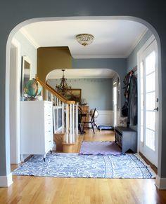 Paint: Benjamin Moore's Nantucket Fog  Rugs: batik rug from Urban Outfitters, zig dhurrie rug from Serena & Lily  Dresser: Craigslist foyer-updated06