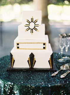 Square tiered cake with art deco details: http://www.stylemepretty.com/collection/2199/