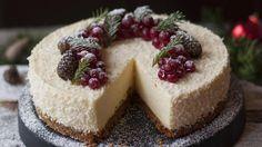 Julens ostekake med appelsin, hvit sjokolade og pepperkaker