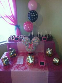Did a candy bar table for Aston's first birthday party. With a Minnie mouse sucker centerpiece :)