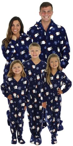 801eb5359a Matching Christmas footie pajamas for the family in a penguin print. Love  it! Christmas
