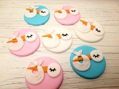 Sweet Little Treats For Every Cake. Gender Reveal Cupcakes, Baby Shower Gender Reveal, Fondant Cake Toppers, Cupcake Cakes, Baby Shower Cupcake Toppers, Baby Theme, Stork, Treats, Sweet
