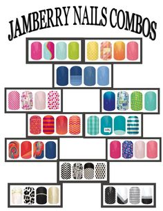 Jamberry Nails combos! Love it! Especially because they are paired in fours! Buy three get one free!!!! Think of all the combos! #jamberry  www.katyann.jamberry.com