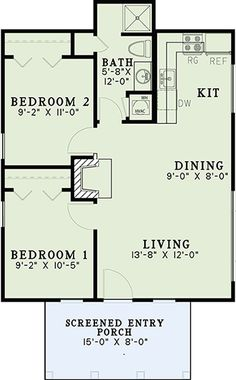 House Plan 110 01038   Cottage Plan: 691 Square Feet, 2 Bedrooms, 1 Bathroom