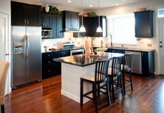 different style kitchen with L-shape and island