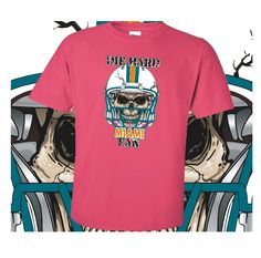 Miami+Football+Die+Hard+Fan+Pink+T-Shirt+100%+Cotton