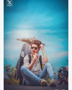 Image may contain: 1 person, sitting, cloud, beard, sky and outdoor Photo Poses For Boy, Best Photo Poses, Boy Poses, Studio Background Images, Black Background Images, Portrait Photography Poses, Time Photography, Photography Studios, Photography Gifts