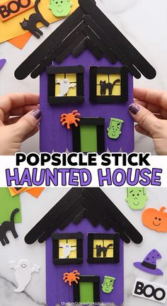 - such a fun popsicle stick Halloween craft for kids! This popsicle stick haunted house craft is such a fun Halloween activity for kids. Kids will love painting and decorating these haunted houses! Dulceros Halloween, Halloween Arts And Crafts, Adornos Halloween, Halloween Activities For Kids, Manualidades Halloween, Fall Crafts For Kids, Diy Halloween Decorations, Toddler Crafts, Kids Crafts