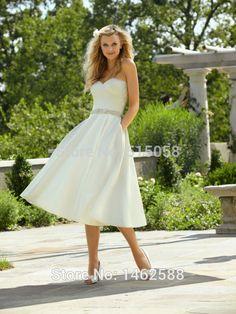 Goedkope Ivoor Taffeta Plisse Sweetheart Prinses Trouwjurk Korte 2016 Elegante Thee Lengte Bruidsjurken, koop Kwaliteit trouwjurken rechtstreeks van Leveranciers van China:   trouwjurk korte 2014****************************