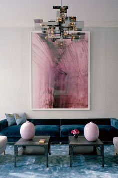 thumbs simon watson living room pale pink blue london cococozy blue velvet sofa Inspiration & renovation in Dumbo Living Room Grey, Home And Living, Living Room Decor, Modern Living, Luxury Living, Small Living, Decoration Inspiration, Interior Inspiration, Decor Ideas