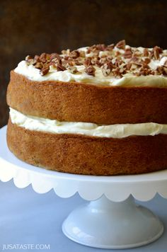 The Best Banana Cake with Cream Cheese Frosting from @justataste