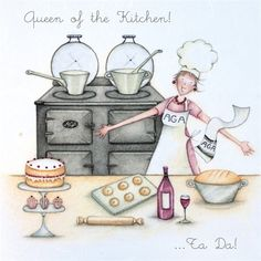 Queen of the Kitchen - Berni Parker Designs Art Pictures, Funny Pictures, Photos, Happy Birthday Art, Creation Photo, Crazy Friends, Card Sentiments, Animation, Birthday Pictures
