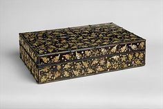 Stationery Box with Decoration of Peony Scrolls, Period: Joseon dynasty (1392–1910) Date: 15th–16th century Culture: Korea Medium: Lacquer inlaid with mother-of-pearl