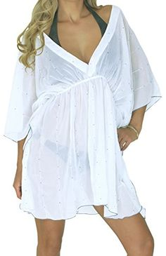 La Leela Sheer Chiffon Sequin Work White Beach Swim Cover up Caftan Valentines Day Gifts 2017 >>> Find out more about the great product at the image link.