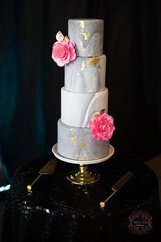 Gray and White Marble Fondant Cake with Fuschia Sugar Roses