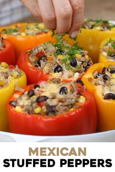 Make these Mexican Stuffed Peppers for an easy weeknight meal. Stuffed with a filling made with ground beef, beans, corn, and rice, they are healthy and delicious. # Food and Drink videos health Mexican Stuffed Peppers Mexican Stuffed Peppers, Healthy Stuffed Bell Peppers, Stuffed Pepper Recipes, Mexican Stuffed Shells, Stuffed Bell Peppers Chicken, Stuffed Peppers With Rice, Stuffed Tomatoes, Clean Eating, Chile Relleno