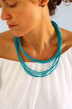 Turquoise fabric necklace with silk cord , simple fabric necklace, summer gift by kokona on Etsy