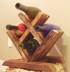 Wood Wine Rack Tabletop Wine Rack Small Wine Rack by DillonMade Small Wine Racks, Wood Wine Racks, Wooden Wine Holder, Countertop Wine Rack, Wine Rack Design, Tobacco Sticks, Palette Deco, Regal Design, Small Wood Projects