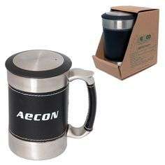 Debco 400 ml oz Stainless Steel Desktop Mug, Silver & Black (Pack of Promotional Giveaways, French Press, Corporate Gifts, Drinkware, All In One, Coffee Maker, Stainless Steel, Desktop, Mugs