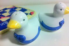 SALZ & PFEFFER Streuer SET Ente Vogel weiß - blau Keramik Porzellan