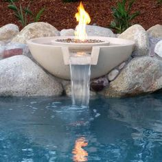 Customer Concrete Fire And Water Bowl Pots Pool Features