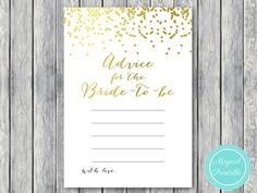 advice-for-the-bride-to-be-cards-gold-bridal-shower
